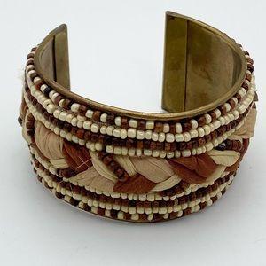 🍭6/$30 Boho beaded mixed media cuff bracelet